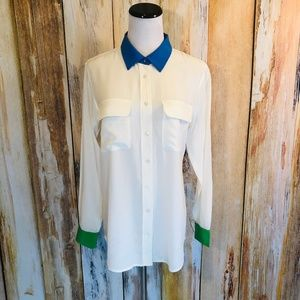 Equipment Femme Silk Colorblock Blouse sz S EUC!